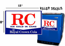 "12"" WHITE STYLE B  RC ROYAL CROWN COLA DECAL COOLERS SODA POP MACHINE"
