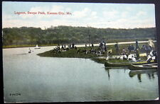 KANSAS CITY MO~1913 LAGOON  SWOPE PARK  CANOE OUTING  Lots of People Watching