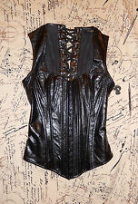 LIP SERVICE BLACKLIST CORE BLACK VEGI LEATHER CORSET TOP NWOT M 87-83