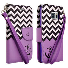 Samsung S6 Design Purple Anchor Wallet Pouch Cell Case + Screen Protector Combo