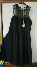 Sienna couture black mesh lagenlook party dress size 20 RRP 38.00