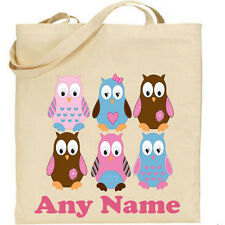 PERSONALISED  TOTE BAG  * OWLS * ANY NAME