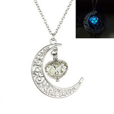 Moon Glowing Necklace Turquoise Jewelry Silver Plated Halloween Gifts