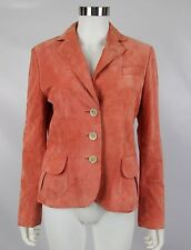 Ann Taylor Womens Sz 6 Peach Coral Lined Butter Soft Suede Leather Blazer Jacket