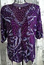 Vintage Purple Sequin Beaded Top Blouse Silk Poly Lined Short Sleeves Medium