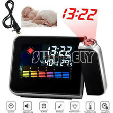 USB DIGITAL LED LCD TIME PROJECTOR TEMPERATURE WEATHER STATION ALARM CLOCK - UK