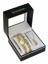 Sekonda Ladies Watch Pendant Necklace & Bracelet Jewellery Gift Set - 4534g