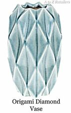 ORIGAMI DIAMOND CONTEMPORARY DESIGN SLATE BLUE VASE GIFT ORNAMENT HOME NEW