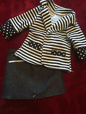 "NEW Journey Girl 18"" Doll Clothes lot Fits American Girl Black Shirt Jean Skirt"