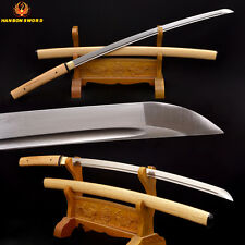 Full Tang Samurai Japanese Shirasaya Katana Sword Folded Damascus Steel Sharp