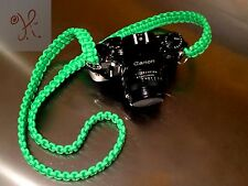 NEW BRIGHT GREEN PARACORD CAMERA NECK STRAP DSLR MIRRORLESS SONY CANON COBRA 48""