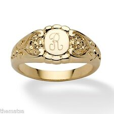 LADIES 14K GOLD PLATED PERSONALIZED INITIAL RING SIZE 5 6 7 8 9 10