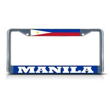 PHILIPPINES MANILA Chrome Heavy Duty Metal License Plate Frame Tag Border
