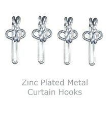 100 Zinc Plated Metal Curtain Hooks - Silver Finish - Contract - Bulk Buy Value