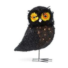 24 in. Pre-Lit Black Tinsel Owl Halloween Decor Haunted House Prop