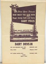 Roger Jessup Farm Dairy Drive-In Product Bag – Glendale California c1970s