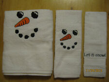 New Embroidered SNOWMAN FACE 3 piece towel set, Holiday, Christmas Towels