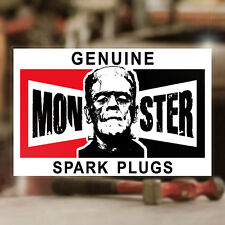 Genuine Monster Spark Plugs Aufkleber Sticker Autocollante Rat Hot Rod 70mm