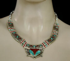 Ethnic Handmade Sterling Silver Necklace Asian Fashion Jewelry Turquoise  N107