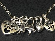 "Dog Dachshund Best Friend Heart Charm Tibetan Silver 18"" Necklace"