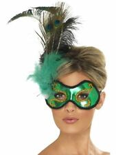 Womens Girls Ladies Sexy Feather Eye Mask Emerald Peacock Masquerade Halloween