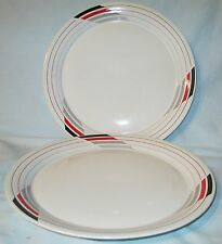 Studio Nova K6008 White with Red and Gray Free Style Dinner Plate Pair