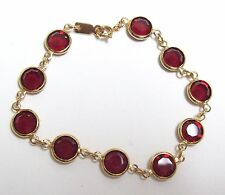 Vintage Bezel Set RED Glass Bracelet