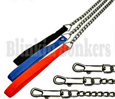 METAL CHAIN LINK 4FT LONG STRONG PET DOG PUPPY LEAD LEASH NYLON FABRIC HANDLE