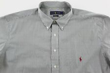 Men's RALPH LAUREN Green White Striped Shirt XLT TALL NWT NEW Classic Fit