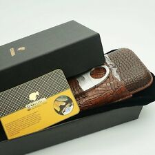 COHIBA Crocodile Embossed Leather 3 Cigar Case w/ Stainless Steel Cutter