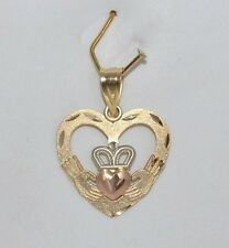NEW 14K SOLID YELLOW GOLD TRICOLOR HEART CLADDAGH CELTIC IRISH CHARM PENDANT