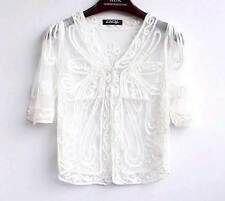 Sheer BOLERO SHRUG Dress Handcraft Jacket Top Coat 8-14 Wedding Party Cape Women