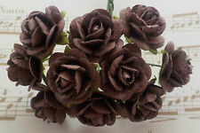 100! LOVELY HANDMADE MULBERRY PAPER ROSES - 10/15MM - CHOCOLATE BROWN ROSE!