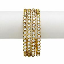 Women Traditional Wedding Stone Kundan Bangle Set Indian Ethnic Jewelry 2*10