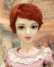 "1/4 bjd msd 7-8"" doll head orange red short wig Luts Soom Iplehouse W-JD28053M"