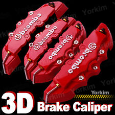 3D Red Brembo Style Universal Disc Brake Caliper Cover 4pcs Front & Rear PT11