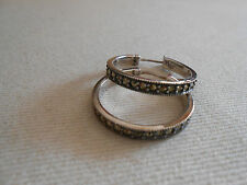 Sterling Silver Marcasite Hoop Earrings   220007