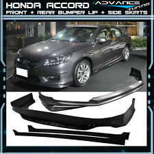 13-15 Honda Accord 4Dr MODULO Front + Rear Bumper Lip + Side Skirts Unpainted PP