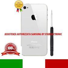 COVER BACK VETRO IPHONE 4S BIANCO BIANCA COPRI BATTERIA SCOCCA POSTERIORE CACCIA