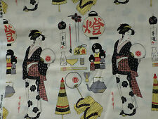 Japanese Geishas Fabric Fat Quarter Cotton Craft Quilting Alexander Henry