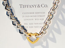Tiffany & Co 18Ct 18K Gold & Sterling Silver Heart Link Necklace