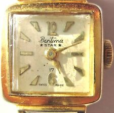 Dainty Ladies 1950s Gold Plated Bentima Star Mechanical Bracelet Watch Working