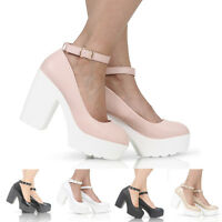LADIES WOMENS CLEATED SOLE CHUNKY HIGH HEELS ANKLE STRAP GEEK SHOES SIZE