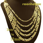 "Italian Figaro Yellow 14k Gold Plated 3 to12mm wide 20"" 24"" 30"" Chain Necklace"