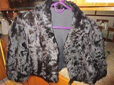 """Vintage black fur bridal short cape black lining 18"""" long - LUD"""