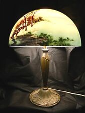 Antique Pittsburgh P.L.B.& G.Co. Obverse Country Painted Glass Shade Brass Lamp