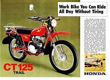 1976 HONDA CT125 Trail Farm Bike 2 page Motorcycle Brochure NOS