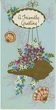 VINTAGE GARDEN FLOWERS GOLD SEA SHELL PLANTER VIOLETS FORGET ME NOTS CARD PRINT