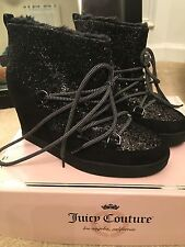Juicy Couture NEW glitter black boots shoes 7.5 msrp $89.99 b97