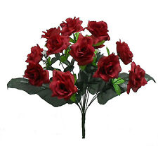 84 OPEN LONG STEM ROSES ~ BURGUNDY ~ Silk Wedding Flowers Bouquets Centerpieces